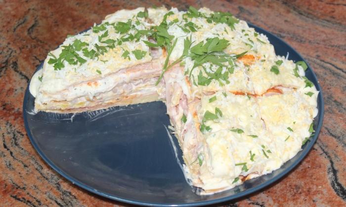 Солена торта с фини омлети