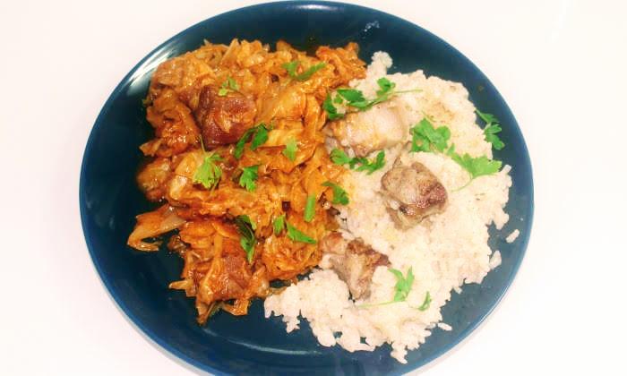 Зеле и ориз със свинско месо