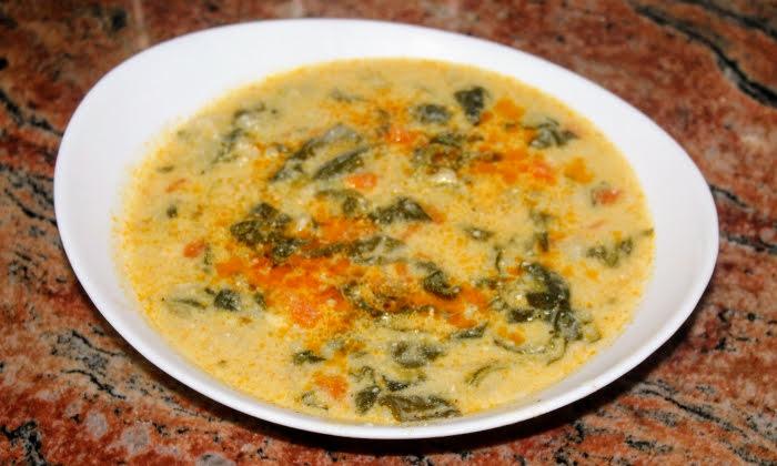Спаначена супа с варена застройка