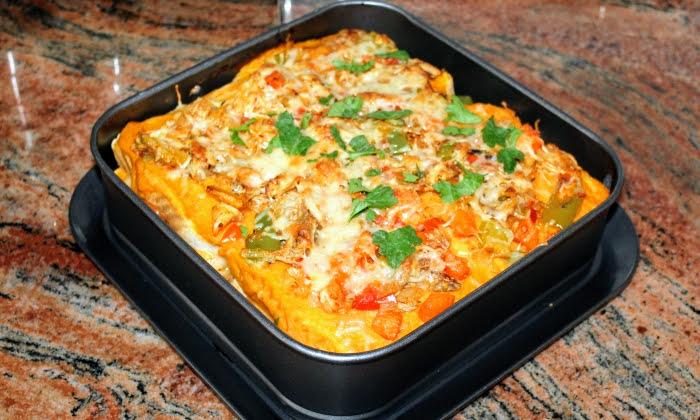 Запеканка с пилешко месо и зеленчуци